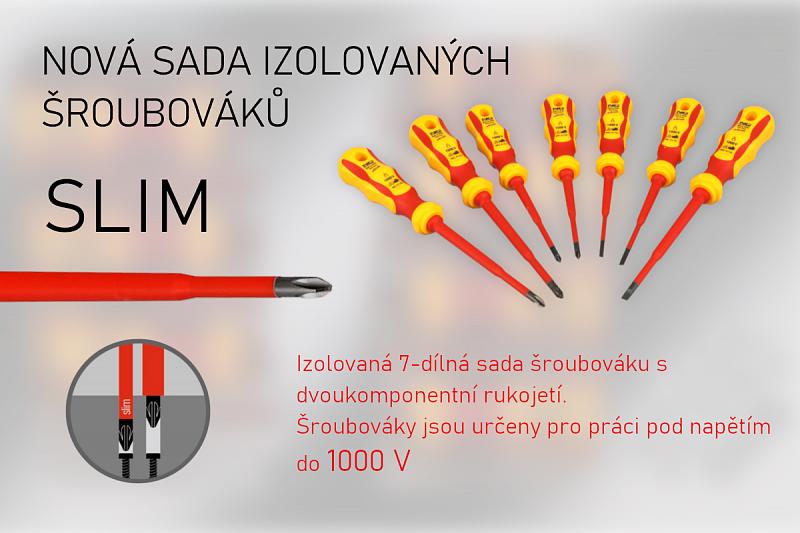 Izolovaná 7-dílná kombinovaná sada šroubováků SLIM